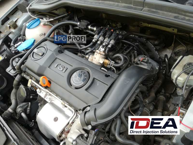 Motor škoda superb 1.4 tsi na LPG se systémem ALEX Idea
